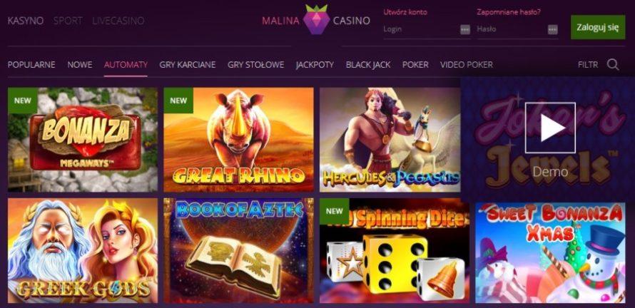 Automaty do gier online Malina